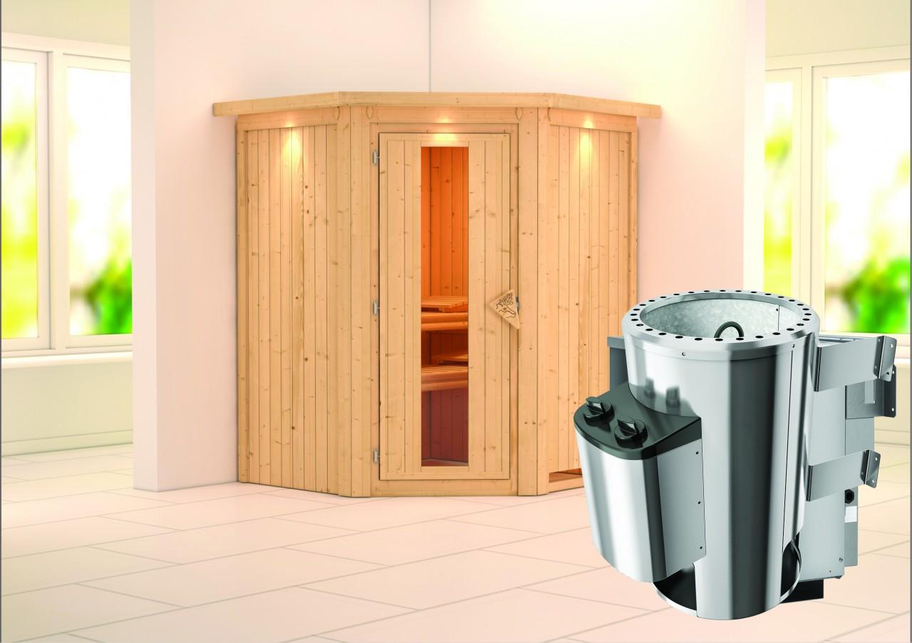 Sauna 230 Volt LEMBIN 1,65 x 1,65 m 68 mm mit 3,6 kW Ofen 3.6 kW Ofen integr. Steuerung
