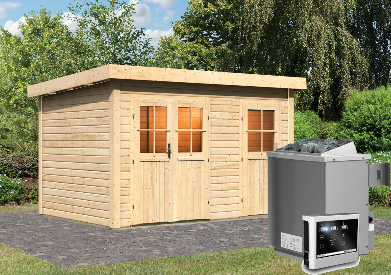 Gartensauna LUUKA 3,66 x 2,46 m 38 mm mit 9 kW Ofen 9.0 kW Ofen ext. Steuerung