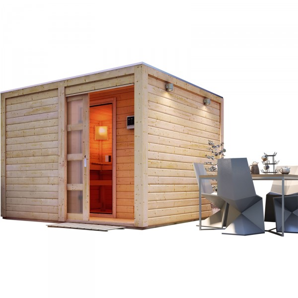 karibu saunahaus cuben 2 76 x 2 76 m 38 mm mit 9 kw ofen gartensauna ebay. Black Bedroom Furniture Sets. Home Design Ideas