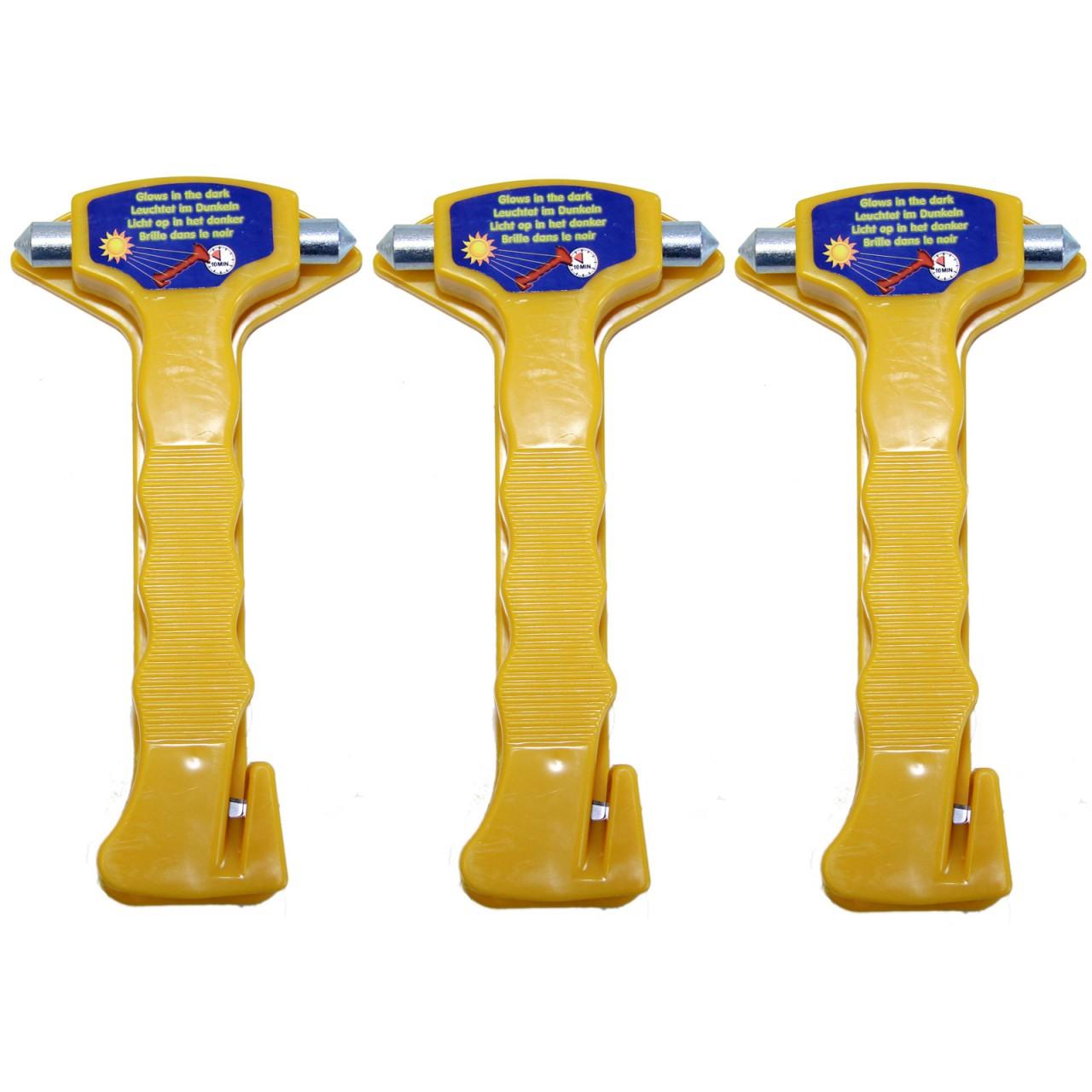 3 x Nothammer mit Gurtschneider und Halterung