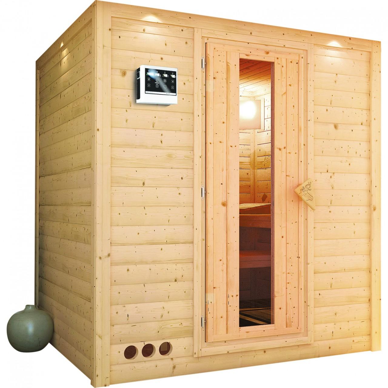 Sauna MOJAVE 1,93 x 1,84 m ohne Ofen mit Dachkranz Ganzglastür s bei Demmelhuber Holz & Raum