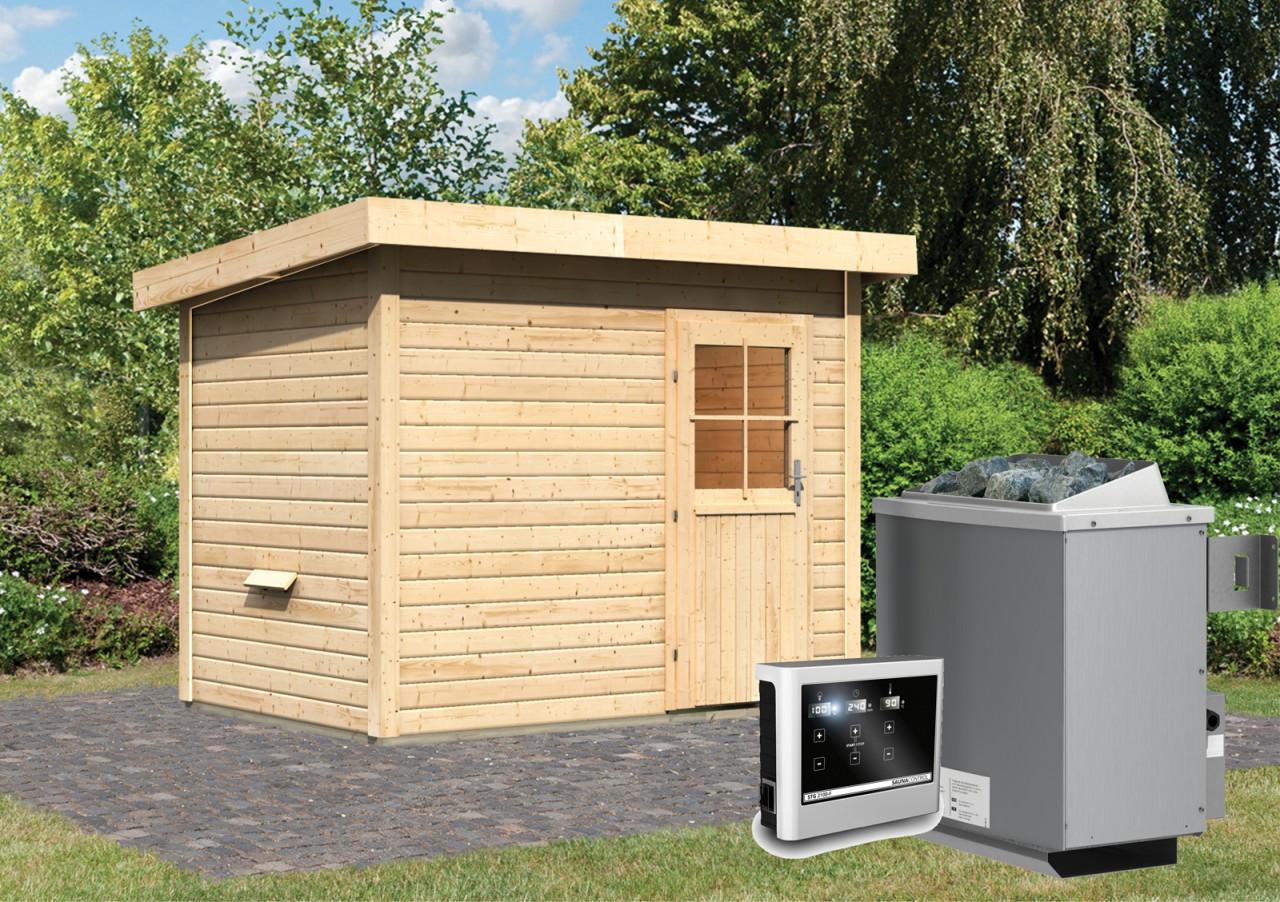 Gartensauna SKROLLAN 0 2,87 x 1,96 m 38 mm mit 9 kW Ofen 9.0 kW Ofen ext. Steuerung