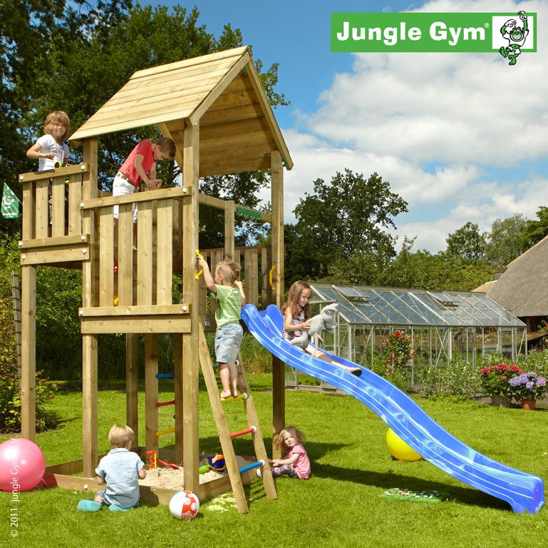 jungle gym spielturm palace kletterturm mit rutsche. Black Bedroom Furniture Sets. Home Design Ideas