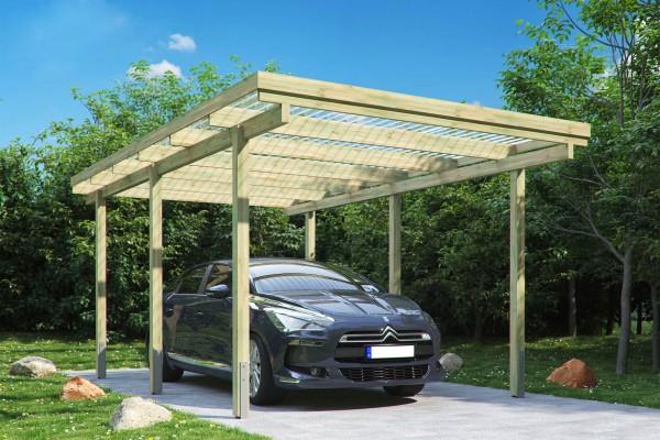 Carport ELBE 1 Einzelcarport 3,04 X 5,10 M Flachdach Garage Unterstand Holz