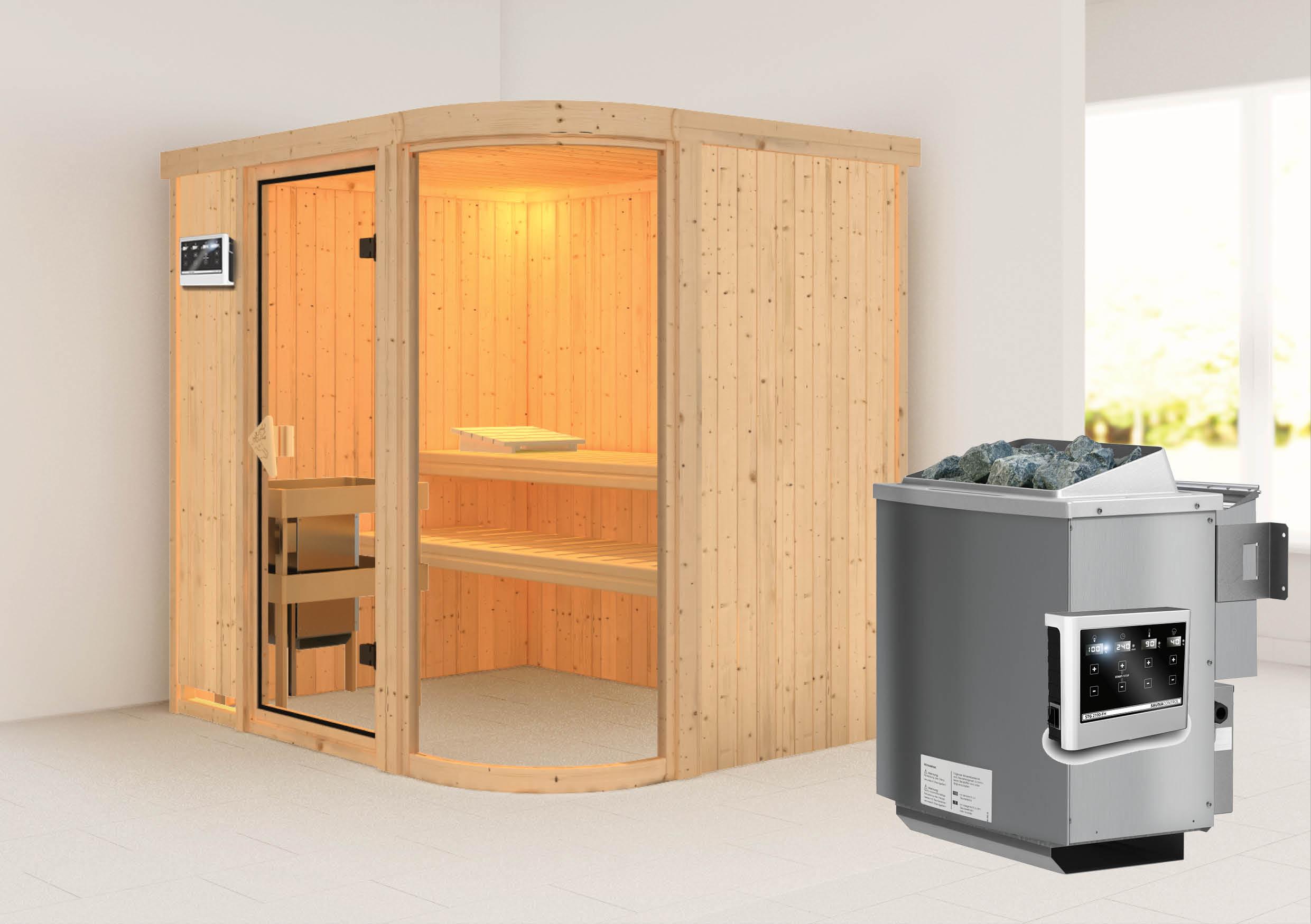 karibu sauna parima 2 1 96 x 1 51 m 68 mm mit 9 kw ofen saunakabine elementsauna ebay. Black Bedroom Furniture Sets. Home Design Ideas
