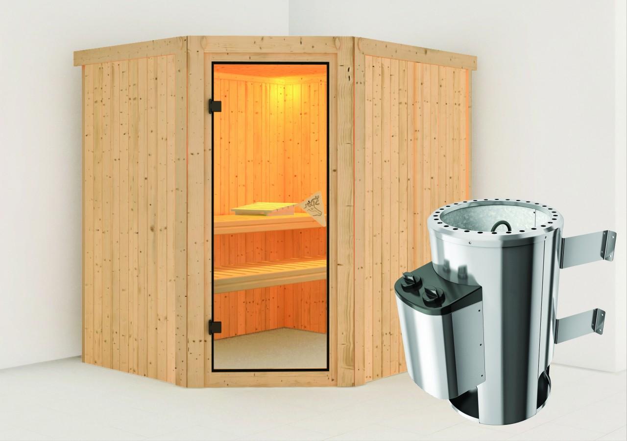 Sauna 230 Volt LILJA 1,96 x 1,70 m 68 mm mit 3,6 kW Ofen 3.6 kW Ofen integr. Steuerung