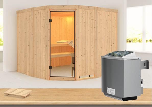 Sauna SIMARA 3 2,31 x 2,31 m 68 mm mit 9 kW Ofen 9.0 kW Ofen integr. Steuerung
