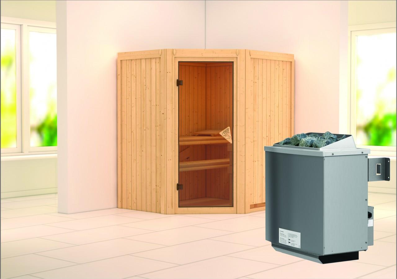 Sauna TAURIN 1,75 x 1,52 m 68 mm mit 9 kW Ofen 9.0 kW Ofen integr. Steuerung