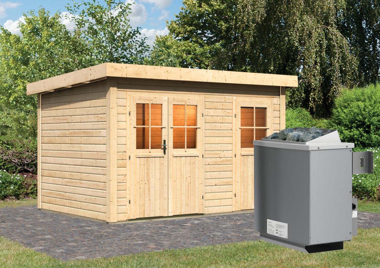 Gartensauna JUUKA 3,66 x 2,46 m 38 mm mit 9 kW Ofen 9.0 kW Ofen integr. Steuerung