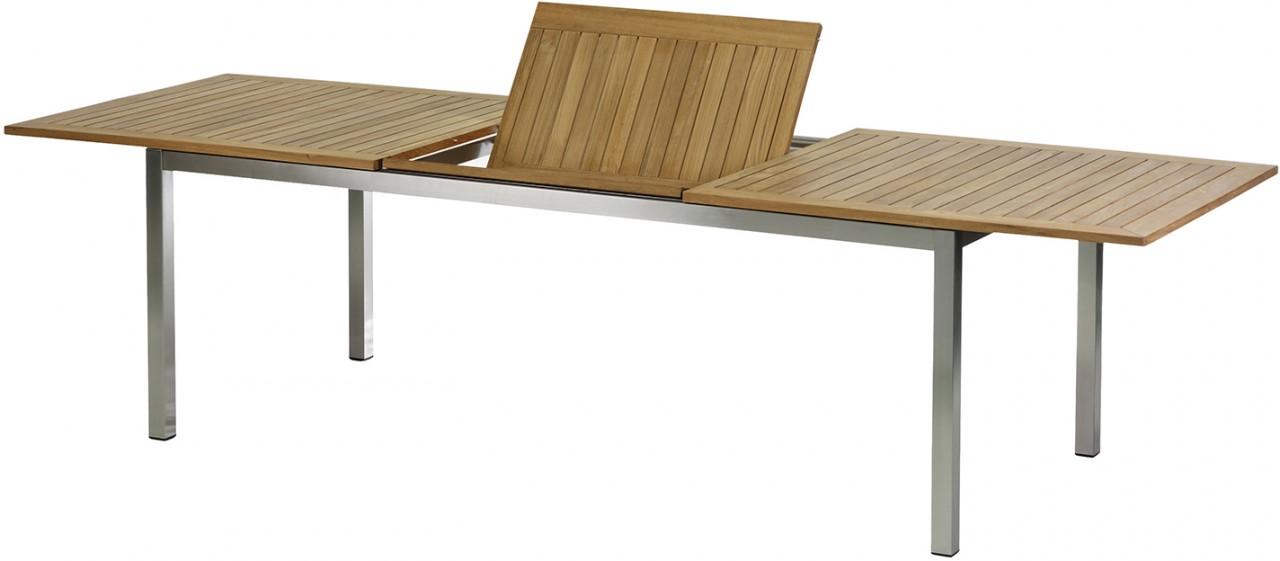 Gartentisch Tisch ROMA Edelstahl/Teak 220 bis 300 cm eckig