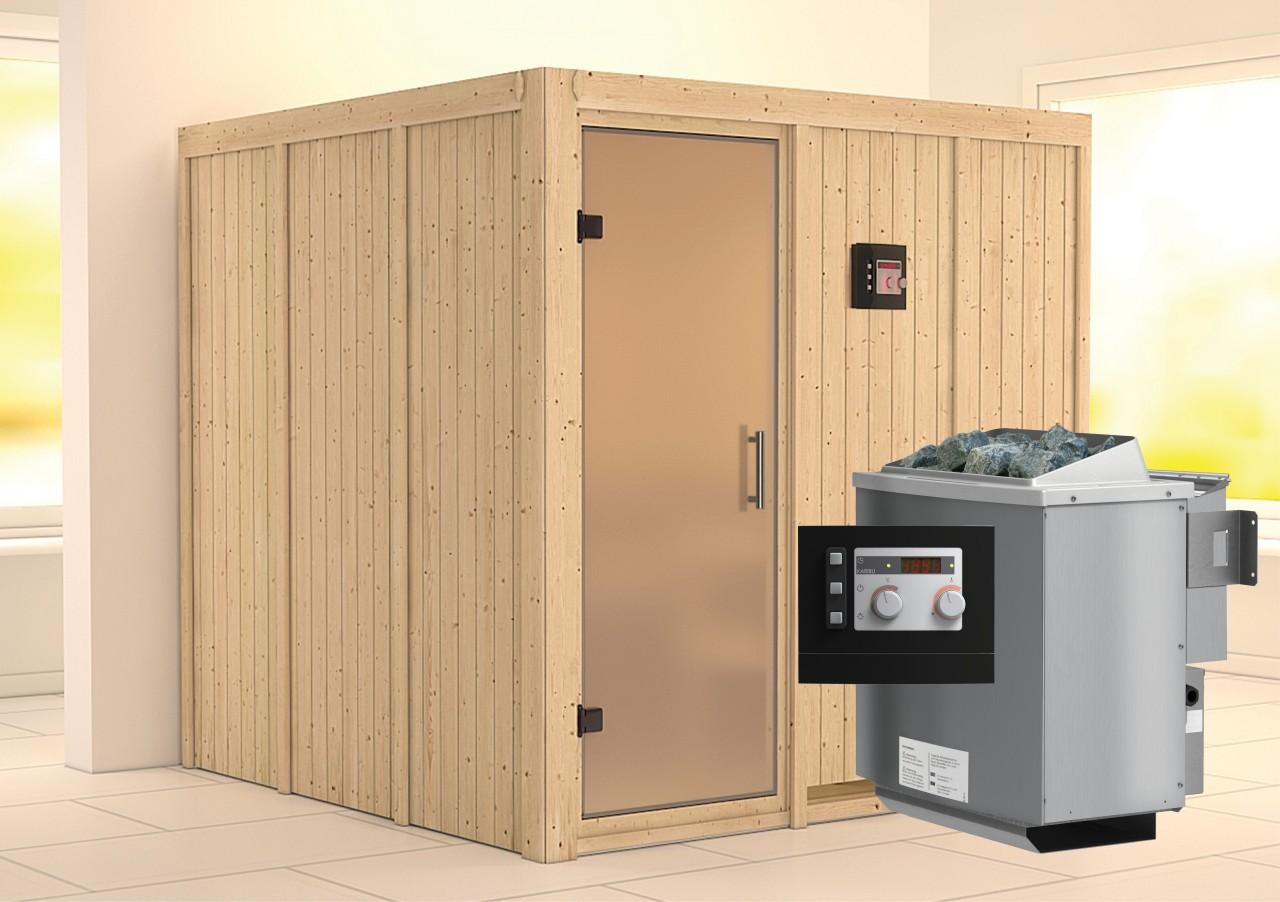 Sauna RODIN 1,96 x 1,96 m 68 mm mit 9 kW Ofen 9.0 kW Bio-Kombiofen ext. Steuerung
