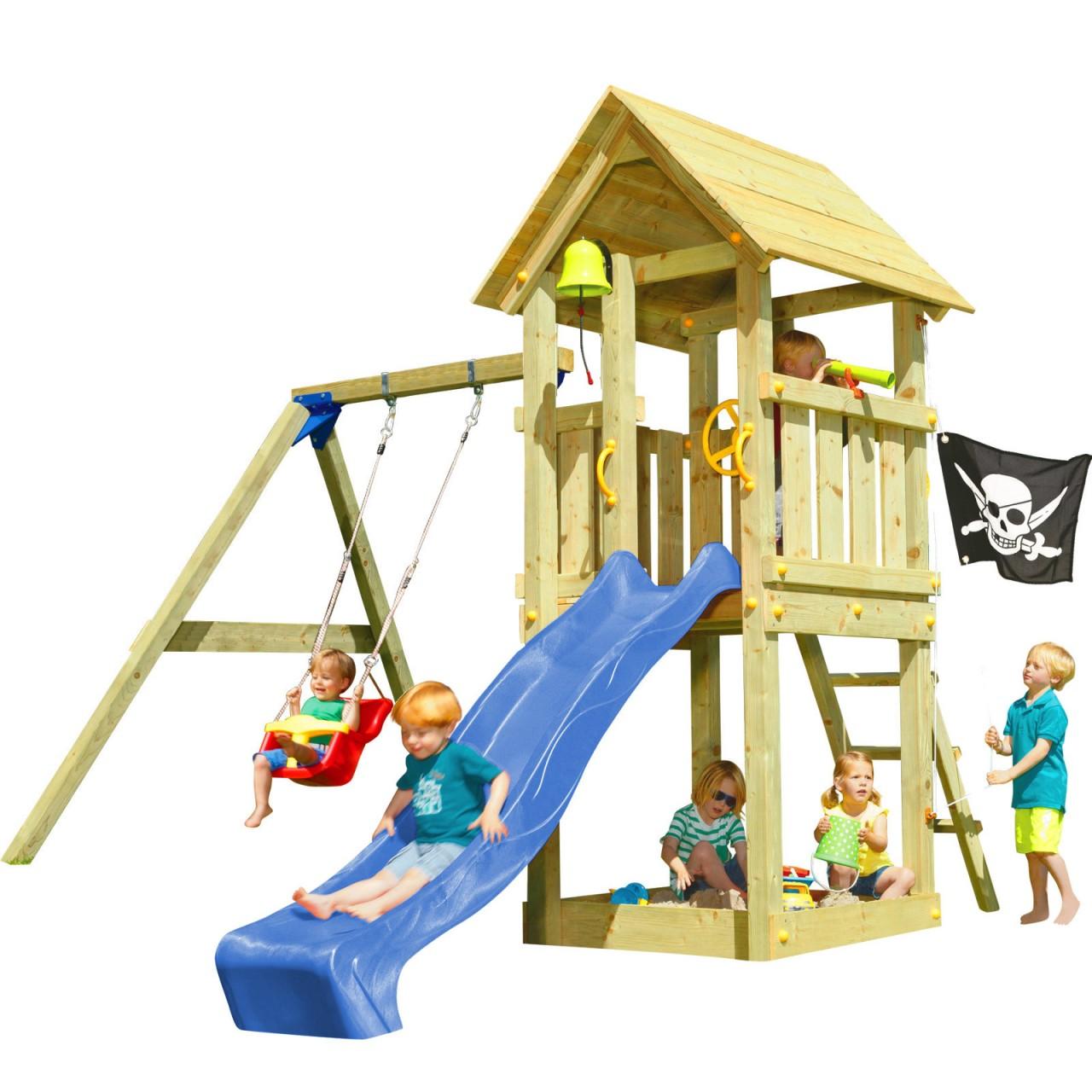 Spielturm KIOSK mit Rutsche + Babyschaukel Blau