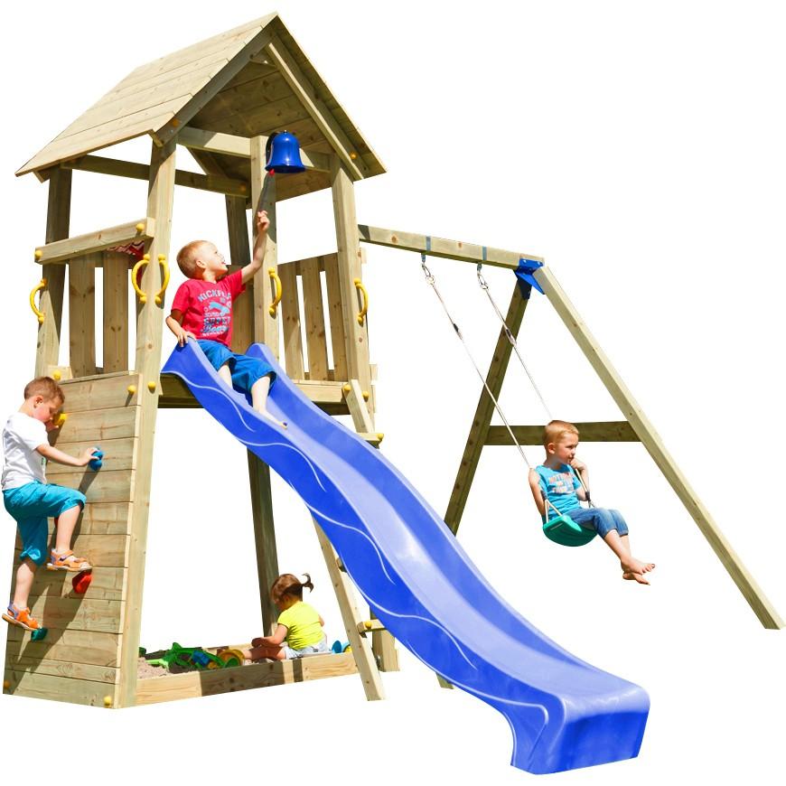 Spielturm BELVEDERE mit Rutsche + Einzelschaukel 2,90 m Blau