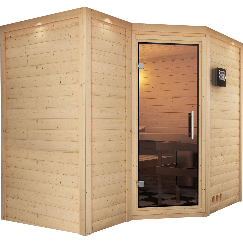 karibu massivholzsauna sahib 2 2 36 x 1 84 m 40 mm mit 9 kw ofen sauna heimsauna. Black Bedroom Furniture Sets. Home Design Ideas