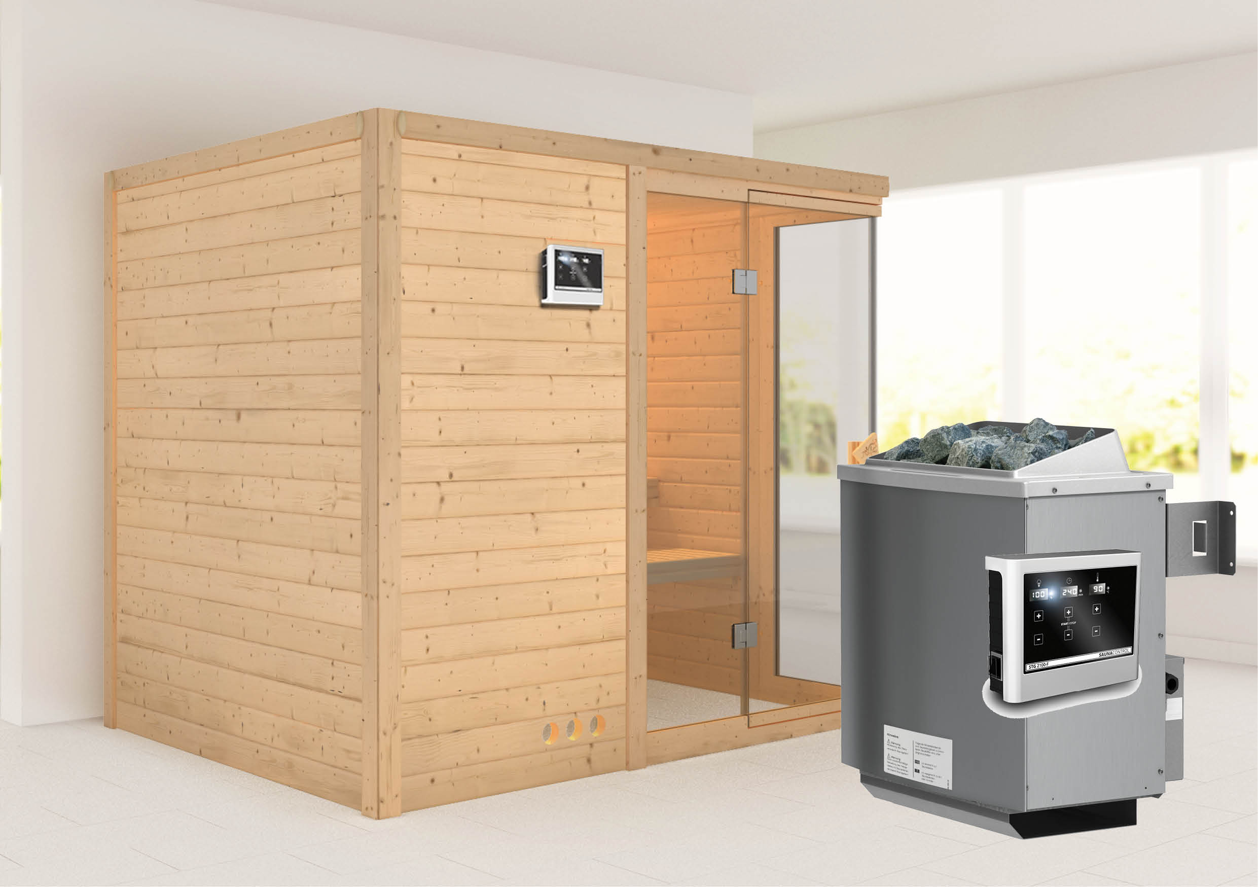 karibu massivholzsauna platina 3 2 36 x 1 84 m 40 mm mit 9 kw ofen sauna ebay. Black Bedroom Furniture Sets. Home Design Ideas