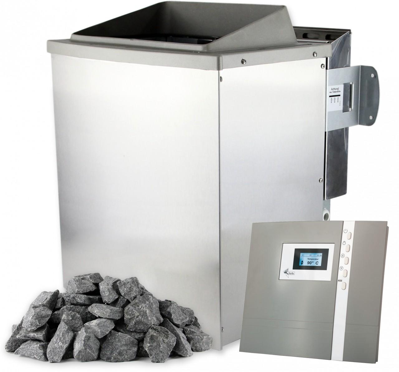 Saunaofen 9 kW PREMIUM mit Saunasteuerung Saunasteine Verdampfer - Bio-Ofen 9 kW mit Verdampfer