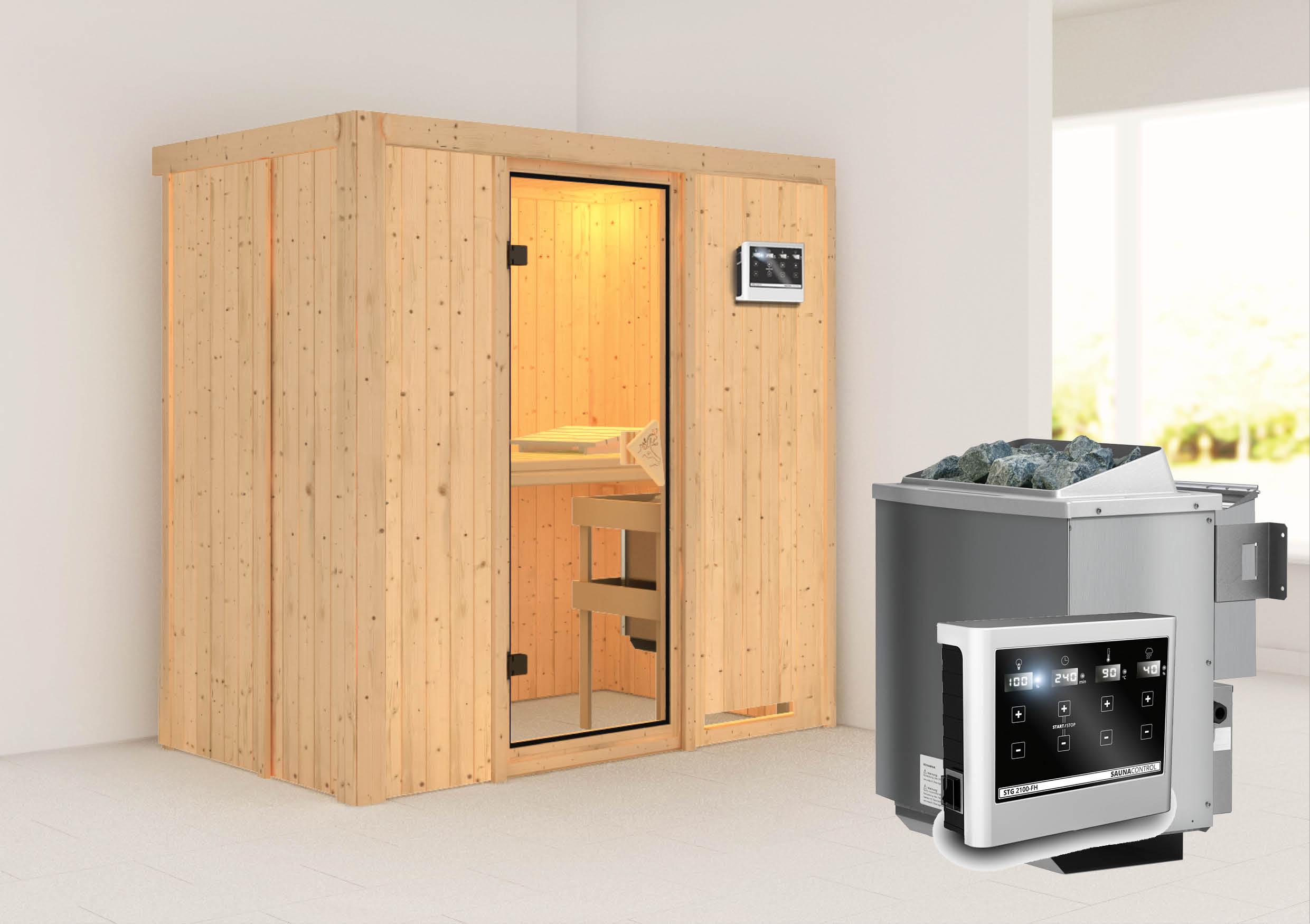 karibu sauna variado 1 96 x 1 18 m 68 mm mit 9 kw ofen saunakabine elementsauna ebay. Black Bedroom Furniture Sets. Home Design Ideas