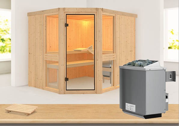 Sauna AMELIA 3 2,31 x 1,96 m 68 mm mit 9 kW Ofen 9.0 kW Ofen integr. Steuerung