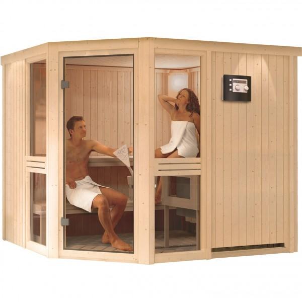 sauna amelia 3 2 31 x 1 96 m 68 mm mit 9 kw ofen saunakabine elementsauna ebay. Black Bedroom Furniture Sets. Home Design Ideas