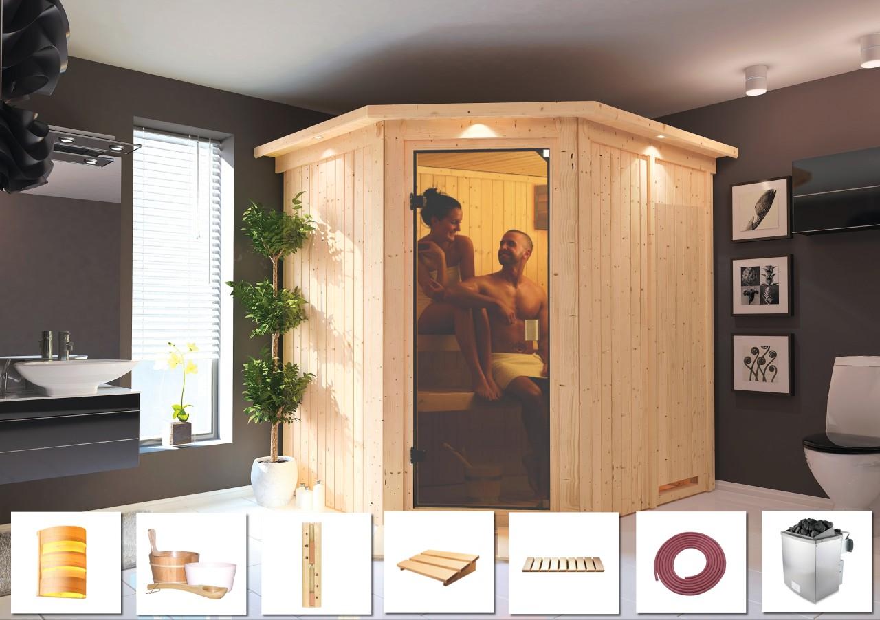 Sauna BIELLA 1,96 x 1,78 m SPARSET mit 9 kW Ofen + 9tlg. Zubehörpaket 9.0 kW Ofen integr. Steuerung