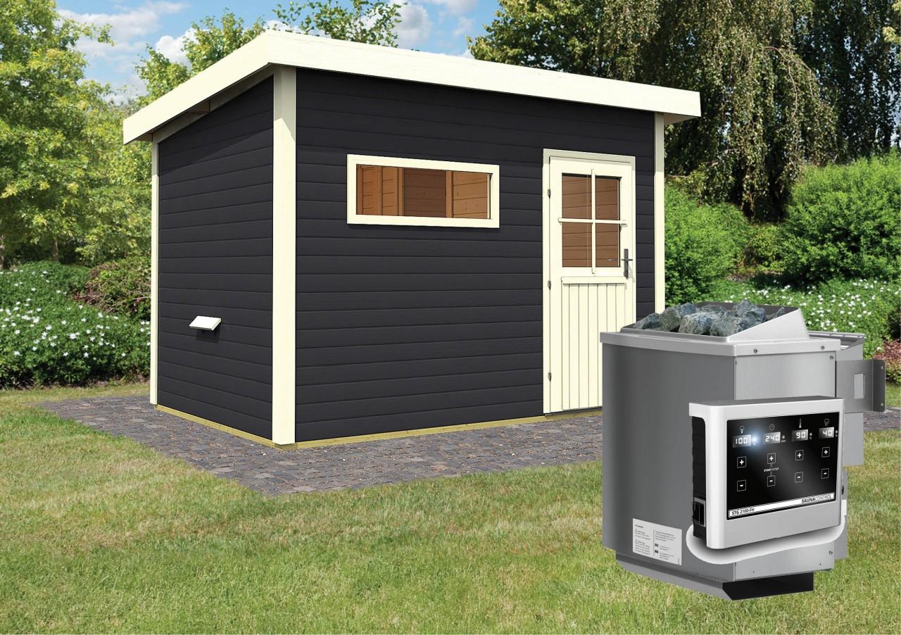 Gartensauna SKROLLAN 2 opalgrau 3,37 x 2,31 m 38 mm mit 9 kW Ofen 9.0 kW Bio-Kombiofen ext. Steuerung