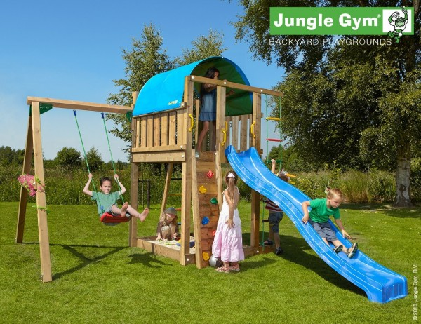 jungle gym emmas villa spielturm set mit schaukel rutsche kletterwand leiter ebay. Black Bedroom Furniture Sets. Home Design Ideas