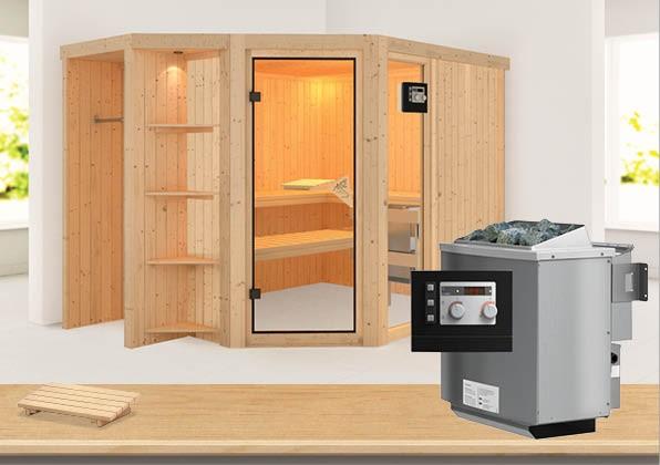 Sauna BRIA 2,74 x 1,96 m 68 mm mit 9 kW Ofen 9.0 kW Bio-Kombiofen ext. Steuerung