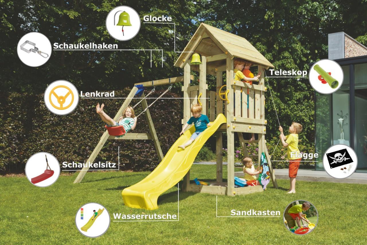 Spielturm KIOSK mit Rutsche + Einzelschaukel Gelb