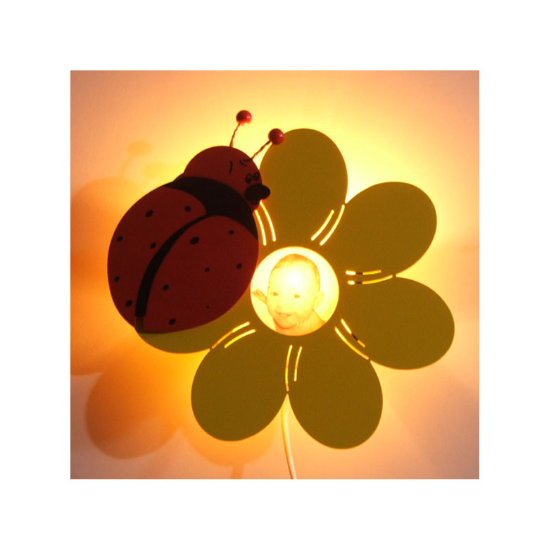 kinderlampe marienk fer bl mchen wandlampe kinderzimmer beleuchtung ebay. Black Bedroom Furniture Sets. Home Design Ideas