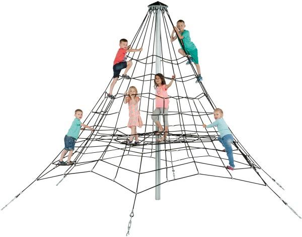 Klettergerüst 3,5 m als Pyramide mit Kletternetz