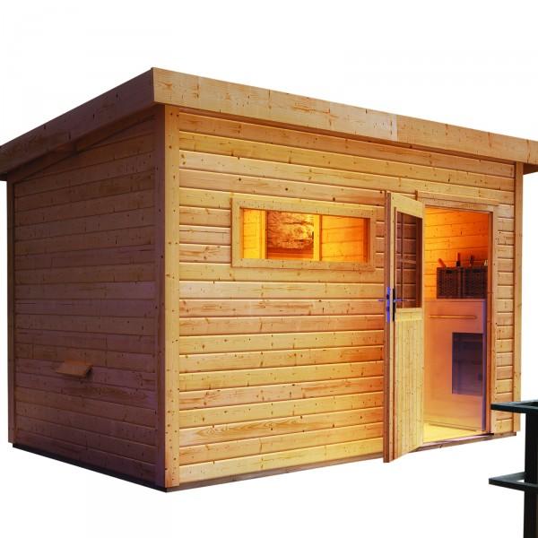 gartensauna skrollan 2 3 37 x 2 31 m 38 mm mit 9 kw ofen gartensauna sauna wellness. Black Bedroom Furniture Sets. Home Design Ideas