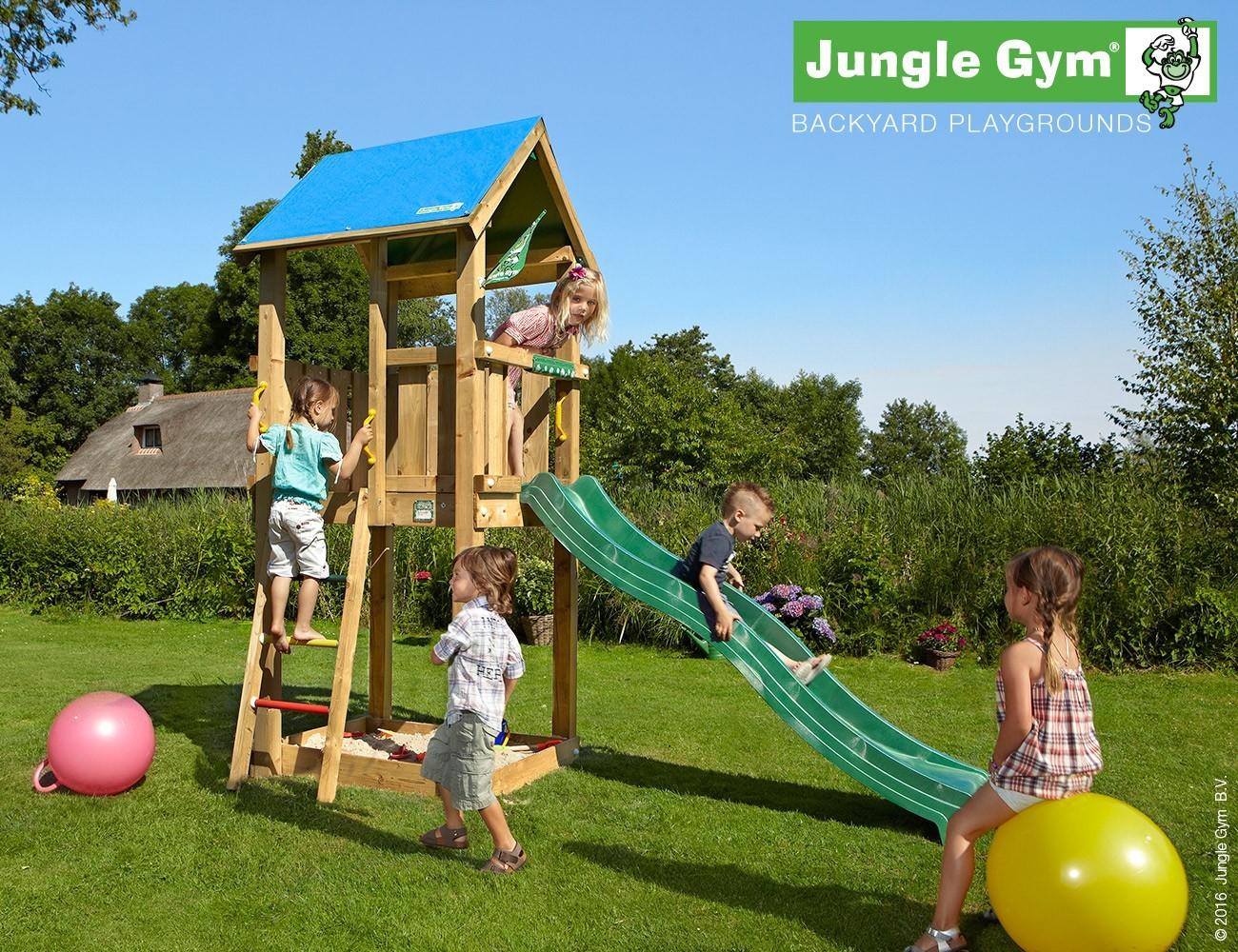 jungle gym spielturm castle kletterturm mit rutsche. Black Bedroom Furniture Sets. Home Design Ideas