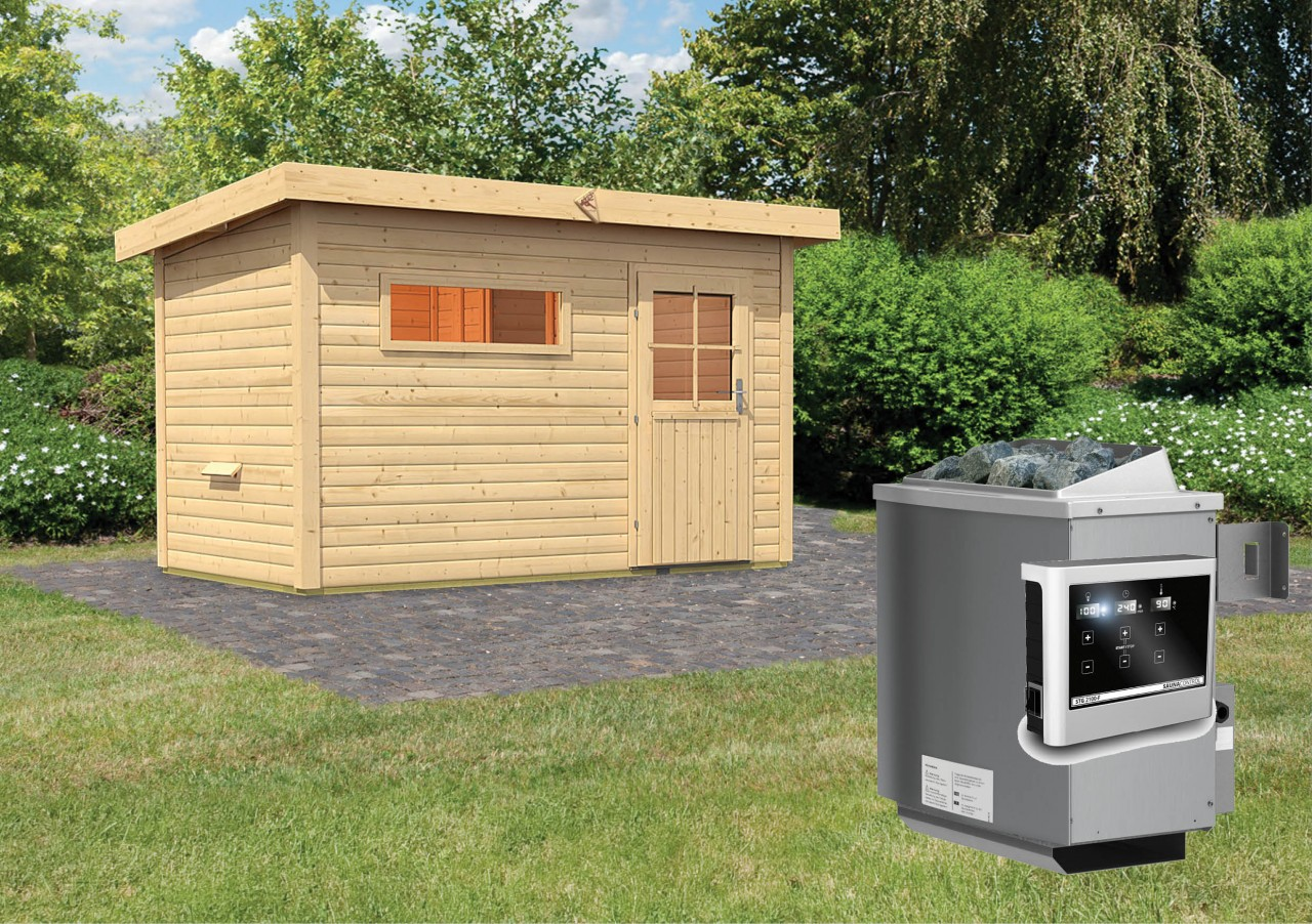 Gartensauna SKROLLAN 1 3,37 x 1,96 m 38 mm mit 9 kW Ofen 9.0 kW Ofen ext. Steuerung