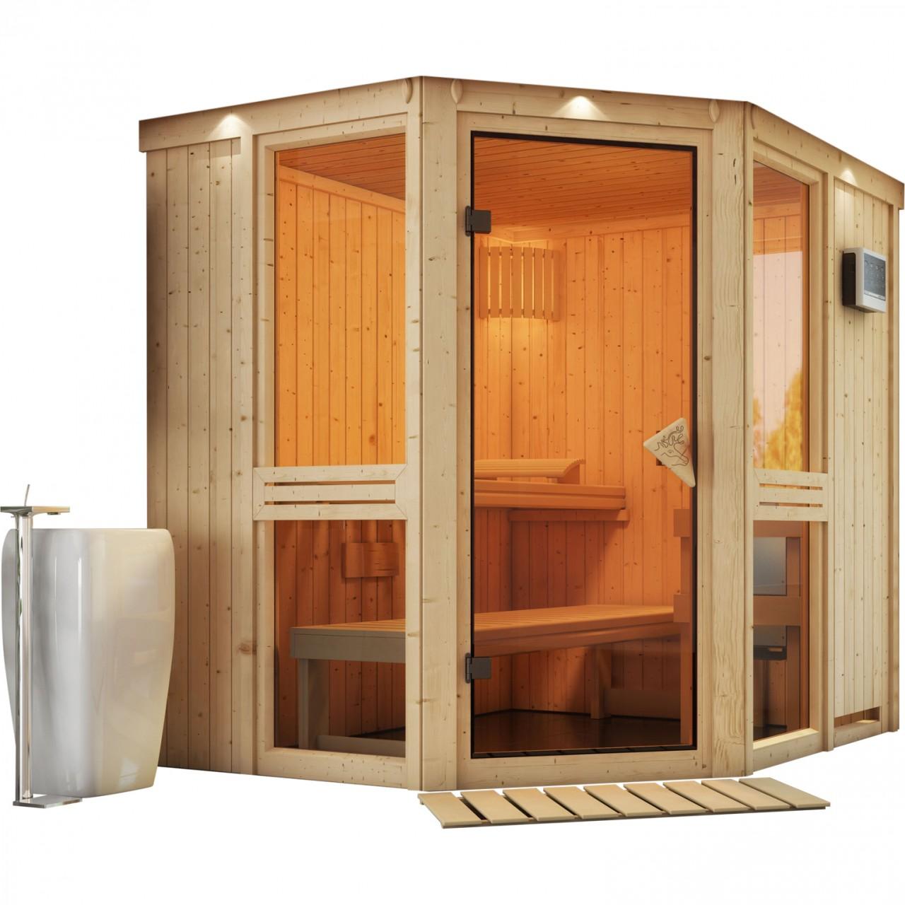 Sauna AMELIA 1,96 x 1,70 m - ohne Ofen mit Dach...