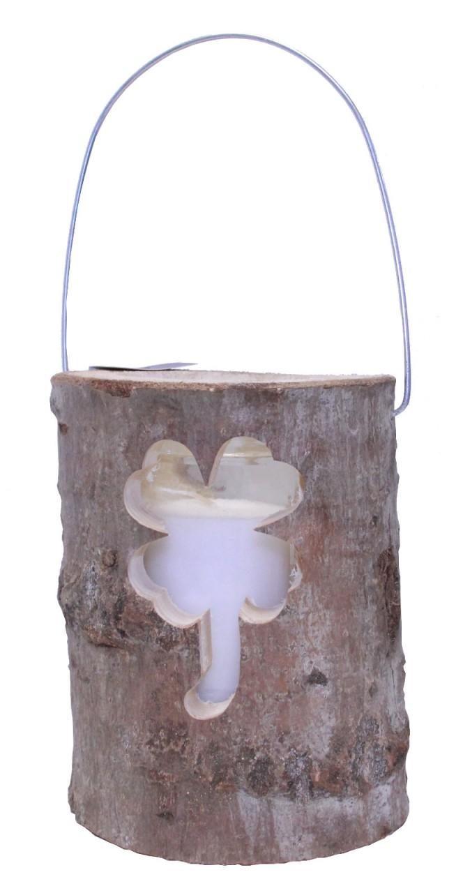 Windlicht Holzstamm Ø 16 cm Glaseinsatz mit Ker...