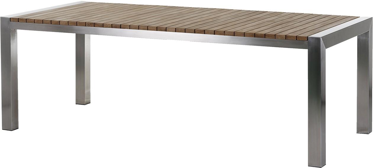 Gartentisch Tisch NAPOLI Edelstahl/Teak 220 cm eckig