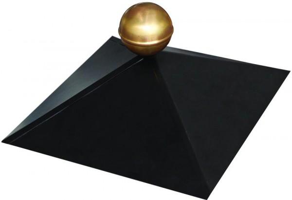 Haube für Viereckpavillon schwarz mit Messingkugel