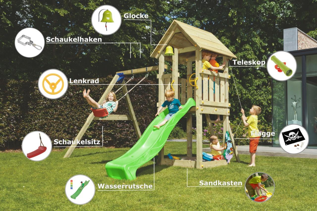 Spielturm KIOSK mit Rutsche + Einzelschaukel Grün