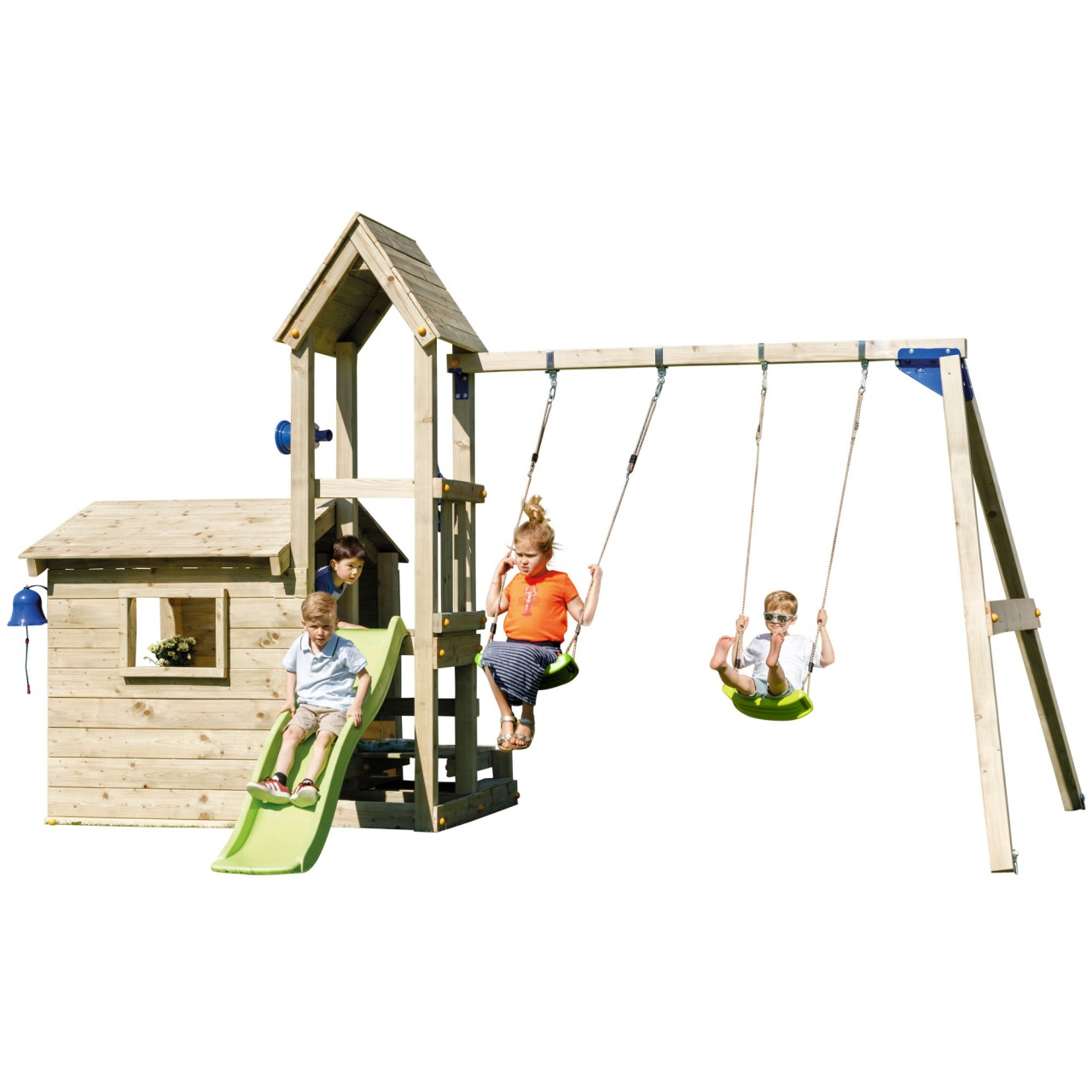 Blue Rabbit  Spielturm LOOKOUT mit Rutsche + Doppelschaukel DH760