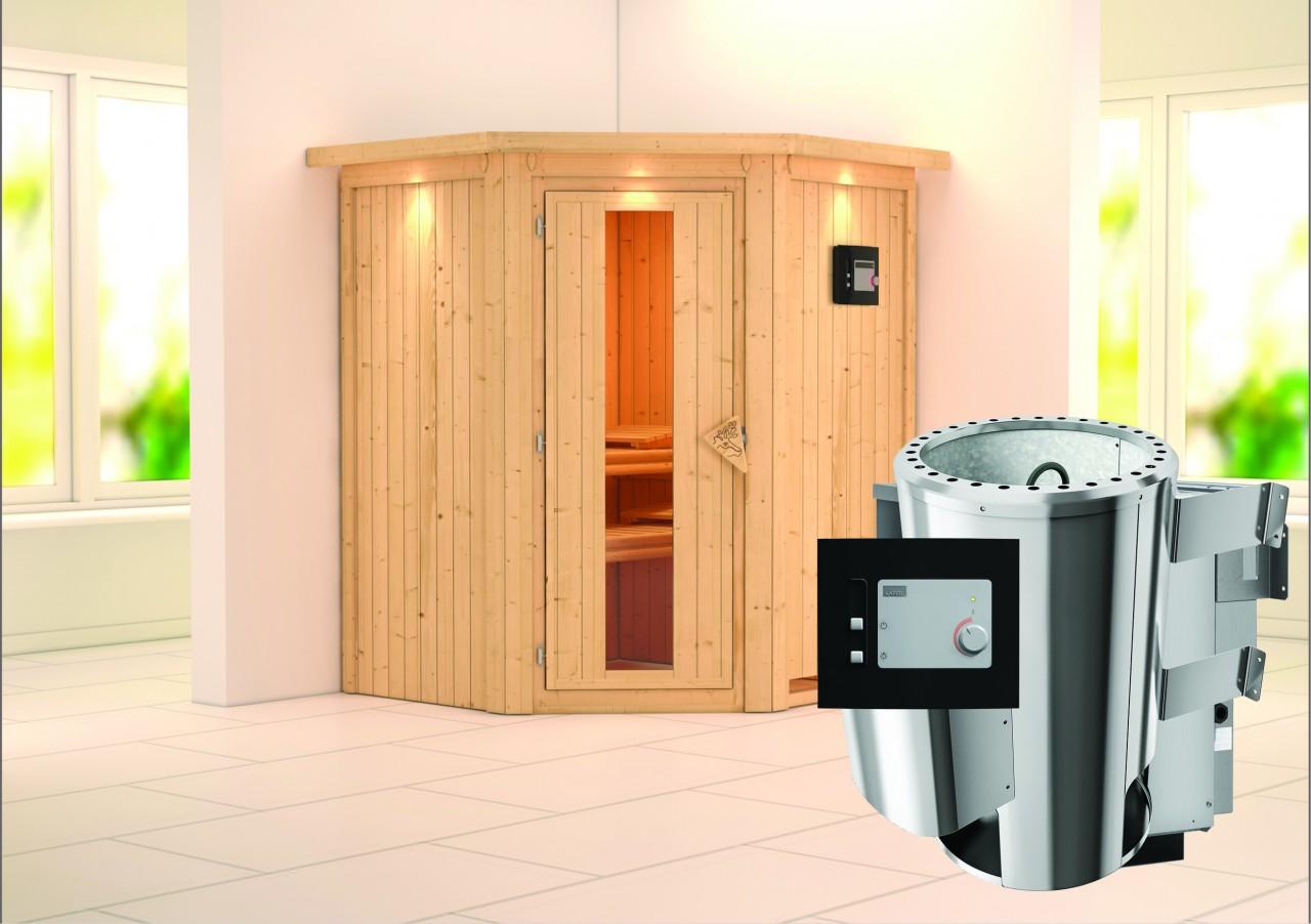 Sauna 230 Volt LEMBIN 1,65 x 1,65 m 68 mm mit 3,6 kW Ofen 3.6 kW Ofen ext. Steuerung