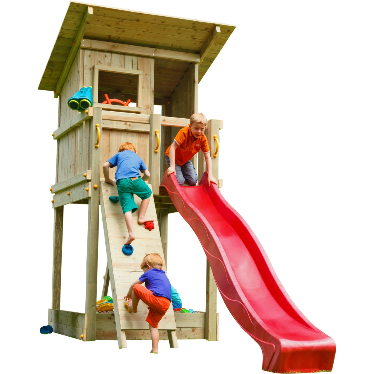 Blue Rabbit  Spielturm BEACH HUT mit Rutsche + Kletterwand  Rot DH466
