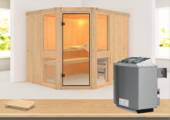 Sauna AMELIA 1 1,96 x 1,70 m 68 mm mit 9 kW Ofen 9.0 kW Ofen integr. Steuerung