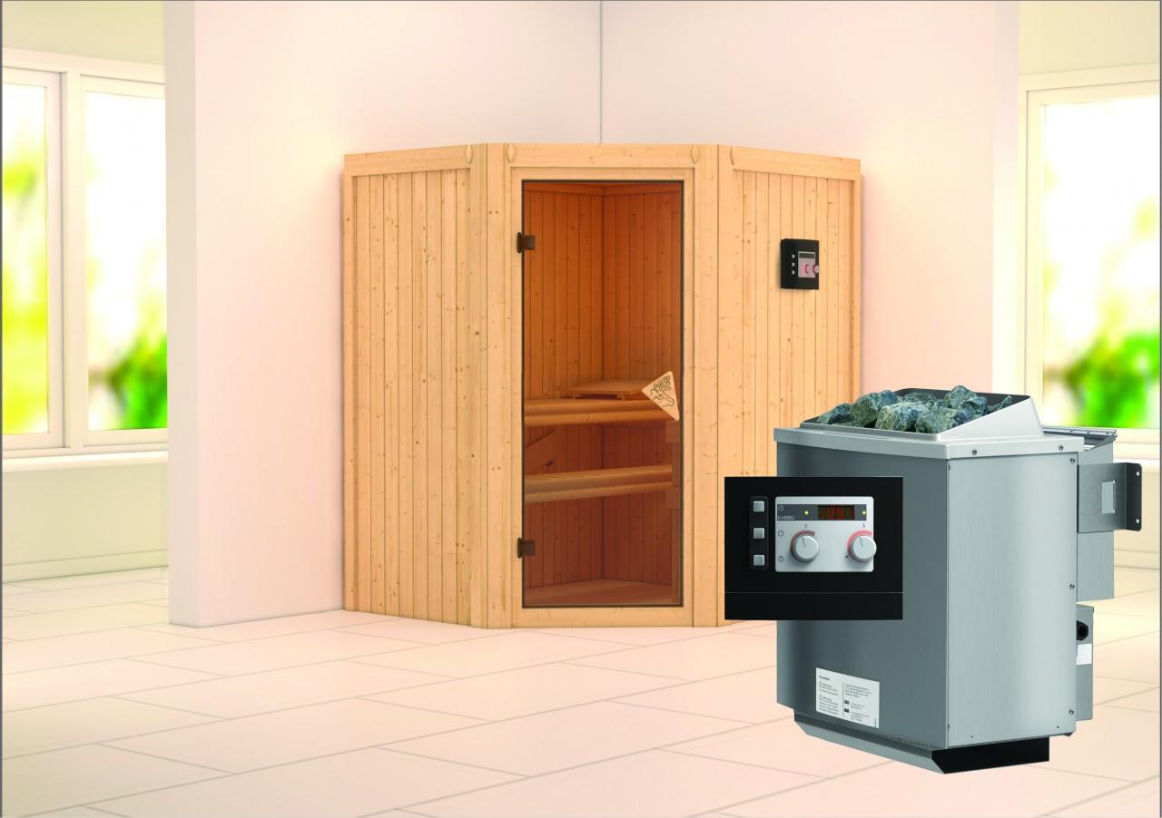 Sauna TAURIN 1,75 x 1,52 m 68 mm mit 9 kW Ofen 9.0 kW Bio-Kombiofen ext. Steuerung