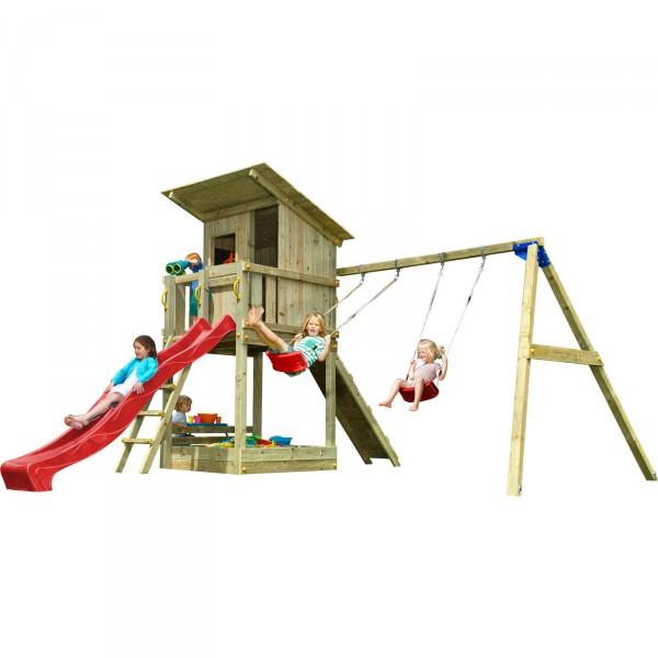 Spielturm BEACH HUT mit Rutsche 2,90 m + Kletterrampe + Doppelschaukel