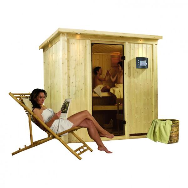 Sauna 230 Volt DARIA 1,96 x 1,70 m 68 mm mit 3,6 kW Ofen