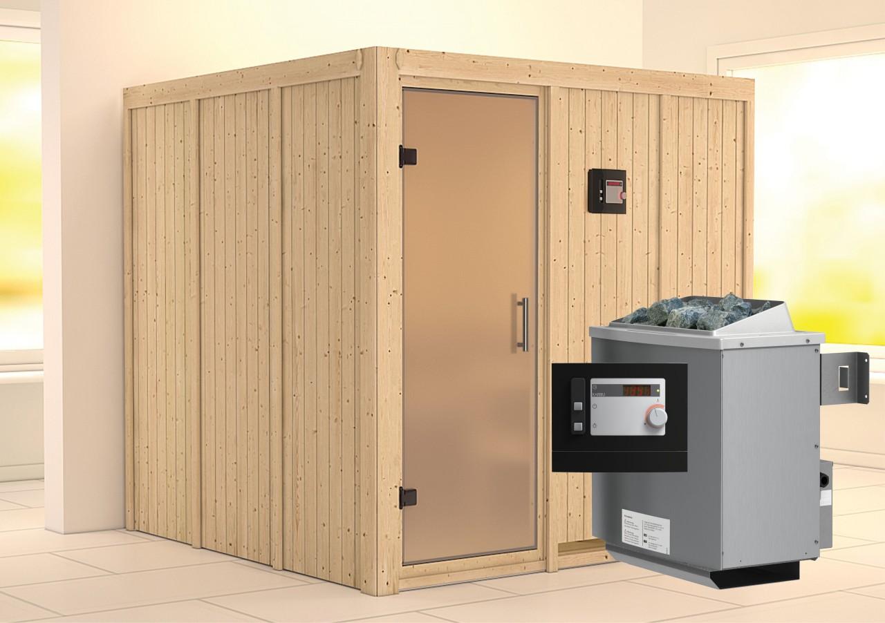 Sauna RODIN 1,96 x 1,96 m 68 mm mit 9 kW Ofen 9.0 kW Ofen ext. Steuerung