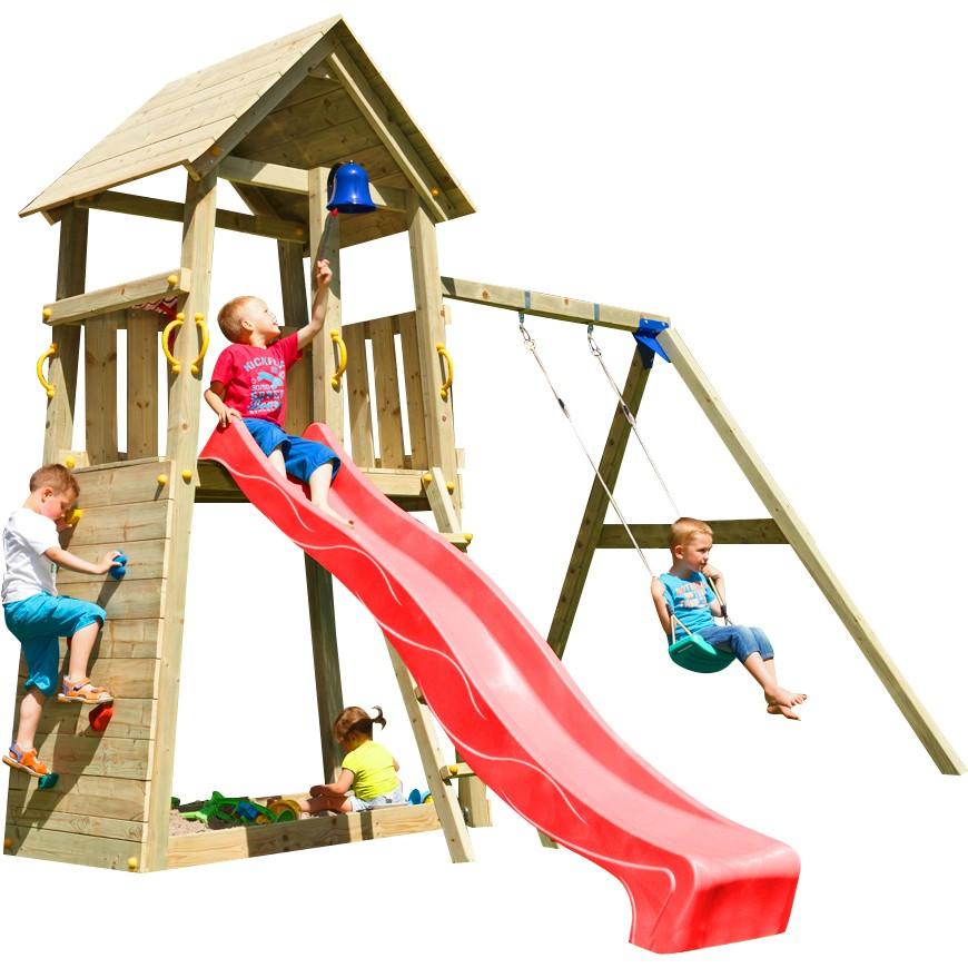 Spielturm BELVEDERE mit Rutsche + Einzelschaukel 2,90 m Rot