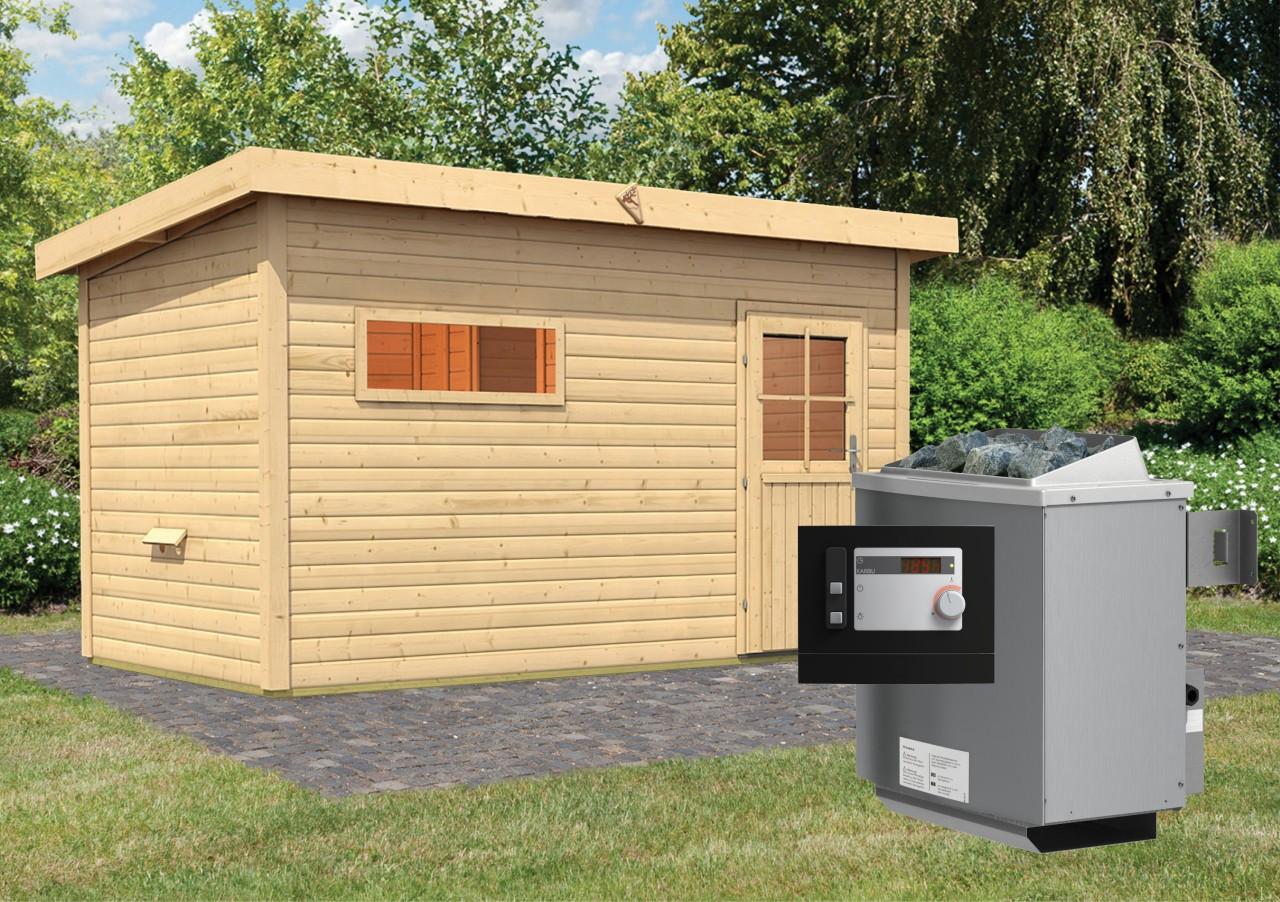 Gartensauna SKROLLAN 3 mit Vorraum 4,29 x 2,62 m 38 mm mit 9 kW Ofen 9.0 kW Ofen ext. Steuerung