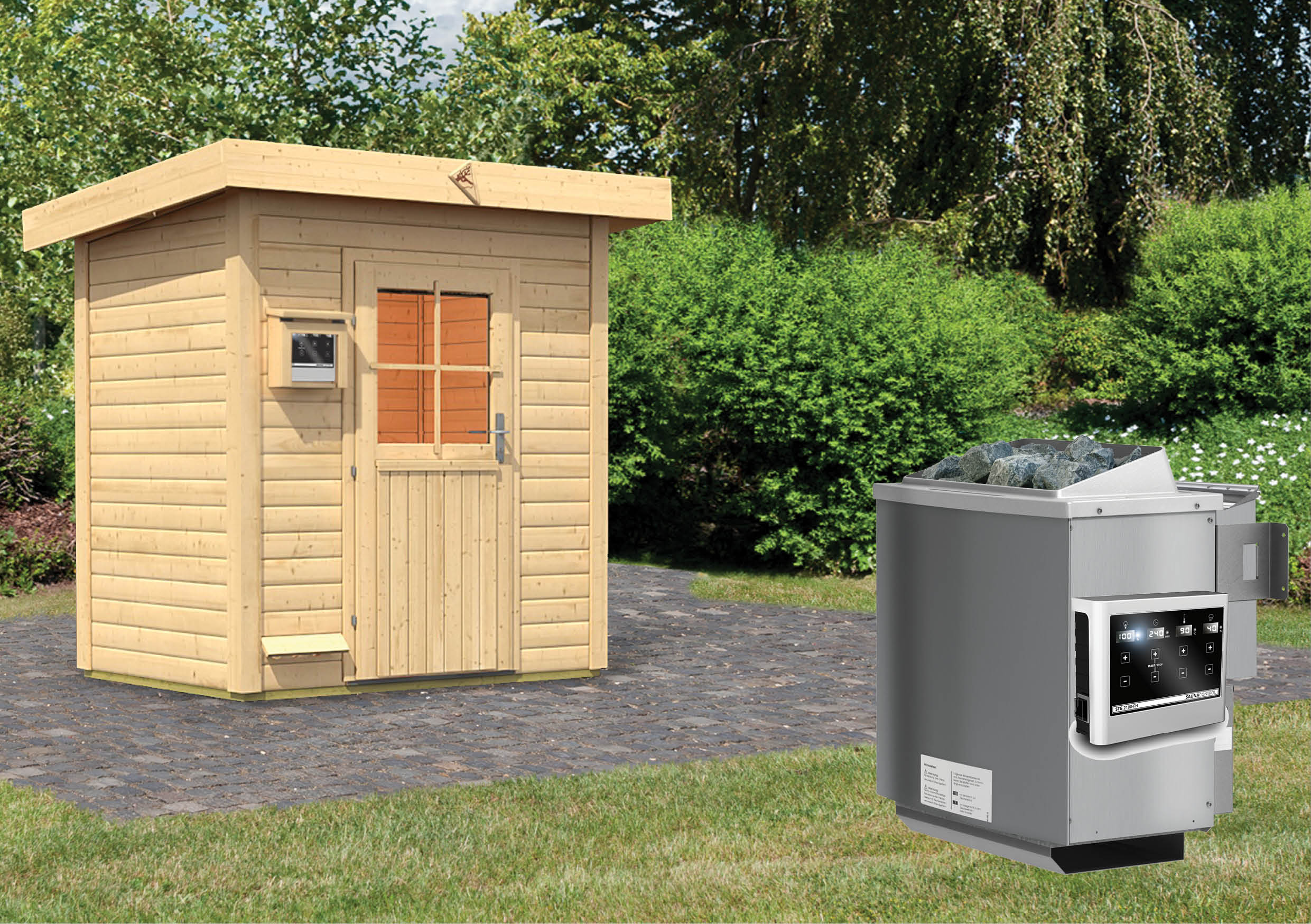 karibu gartensauna jorgen 1 96 x 1 46 m 38 mm mit 9 kw. Black Bedroom Furniture Sets. Home Design Ideas