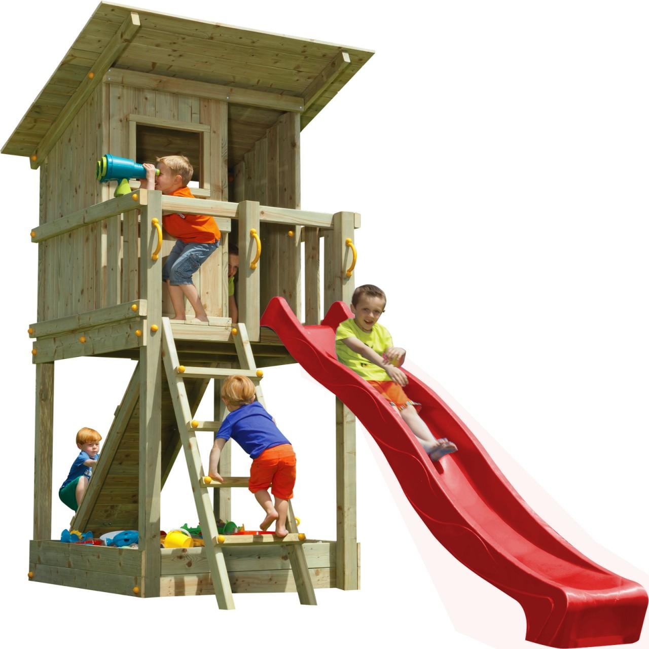 Blue Rabbit  Spielturm BEACH HUT mit Rutsche + Rampe mit Seil  1,50 m Rot DH197